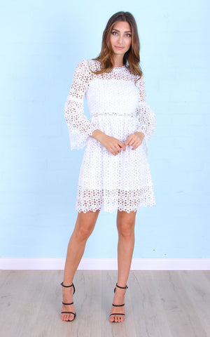Rose Bullet Peeper Bell Sleeve Dress