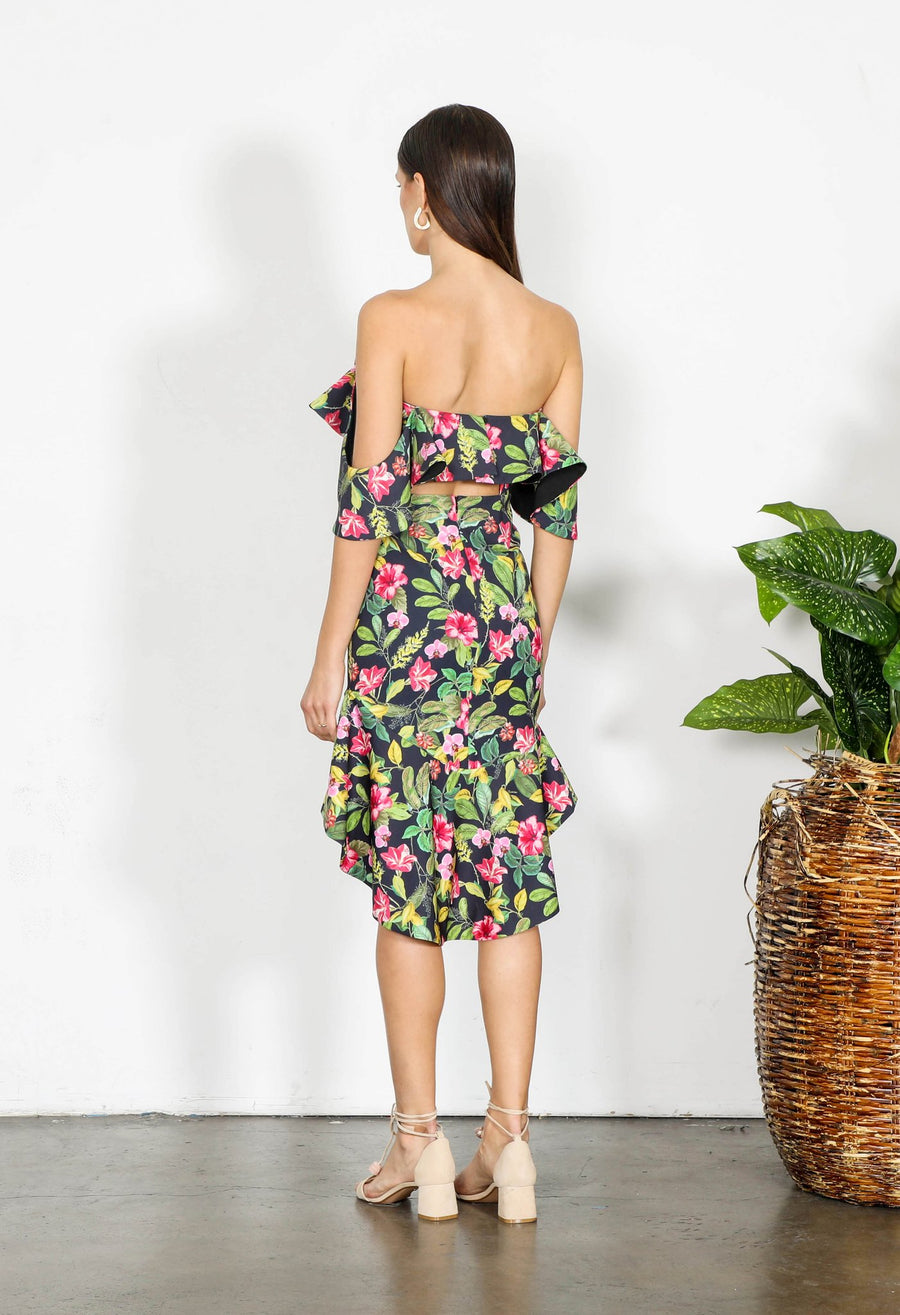Floral Bodycon Dress-Shilla-Elements Off the Shoulder Dress