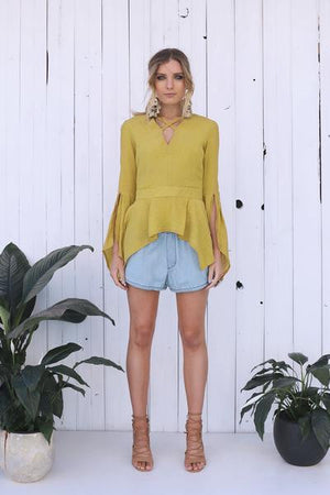 Lost in Lunar Mustard Split Sleeve Top