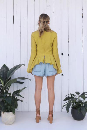Mustard Split Sleeve Top