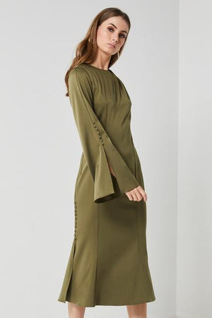 Khaki Satin Dress-Elliatt-Noble Dress