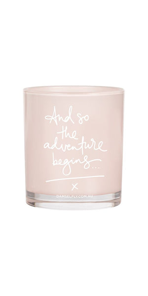 Damselfly And So the Adventure begins candle
