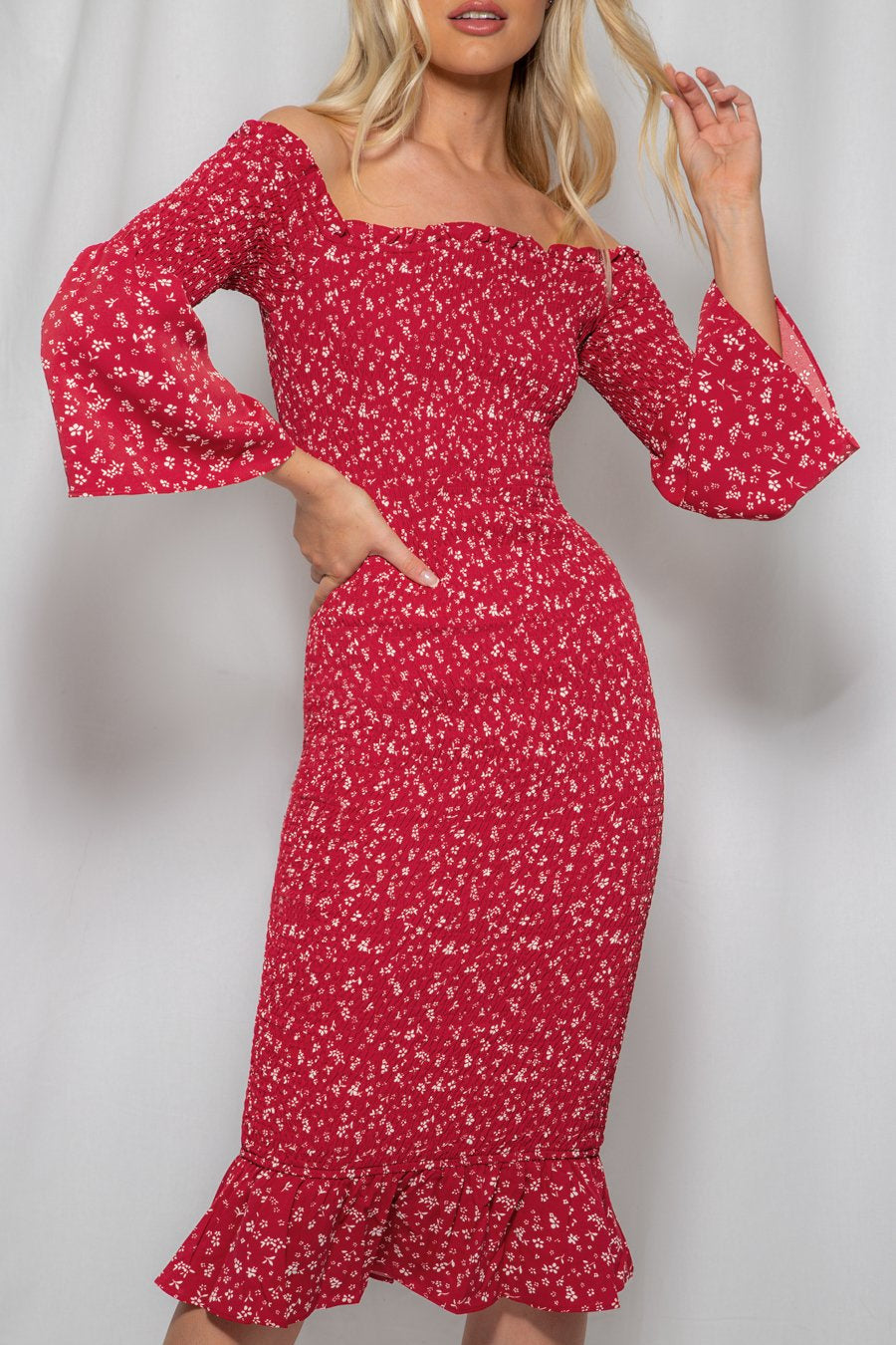 Red Dress-Winnie and Co-Off the Shoulder Shirred Midi