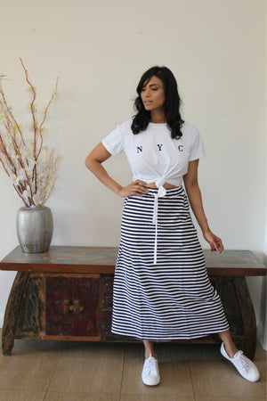 Navy Stripped Skirt-Ari Jogger Skirt-FL Basics