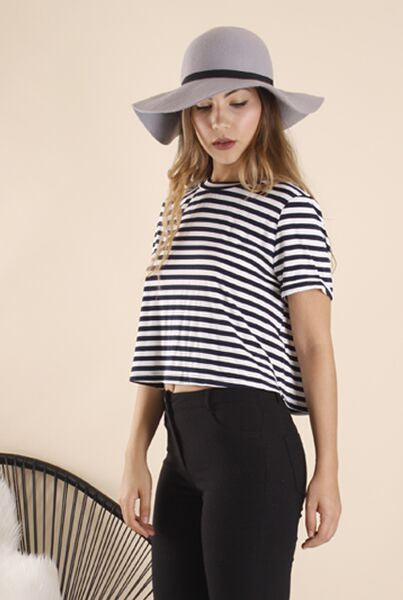 Ajoy Levora Alaina Striped Tee with Back Knot Detail