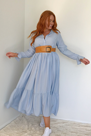 Maxi Dress long sleeve-Caro-Audrey Dress Sky Blue