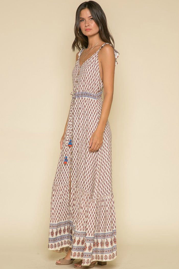 Printed Dress-Raga-Avah Ruffle Strap Maxi