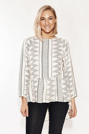 Long Black and white Top-Solito-Berber Blouse