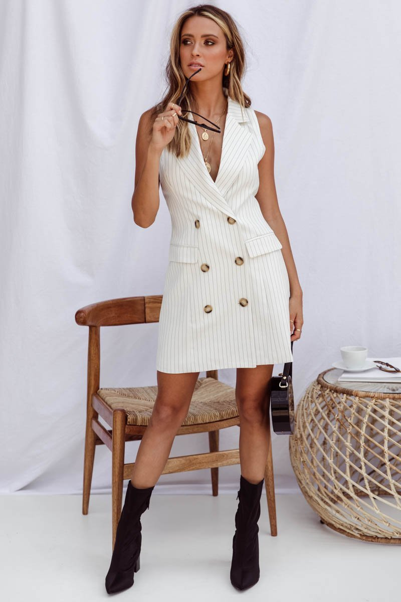 Double Breasted pin stripped dress-Sundays-Boss Dress