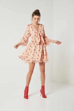 Ladies peach floral dress-Elliatt-Botanical Dress
