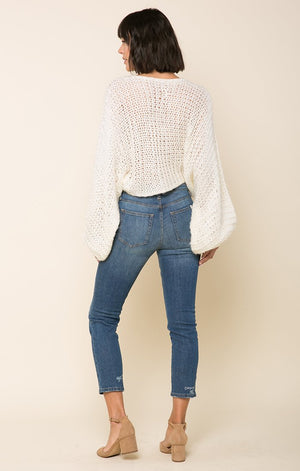 Warm White Knit-Raga-Candace Crochet Knit Sweater