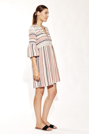 Striped A-line Cotton Dress-Solito-Casa Tunic