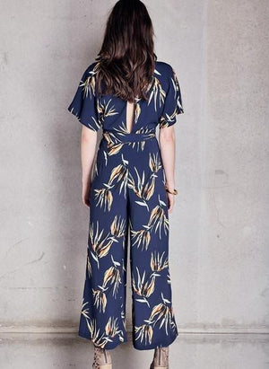 Caught There Jumpsuit Navy Print