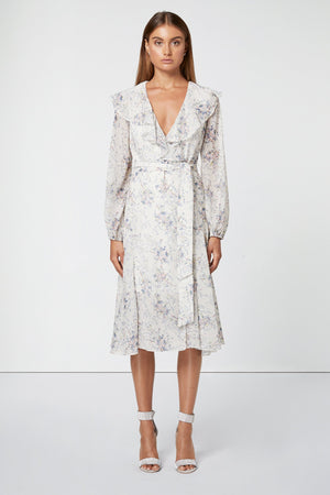 White floral wrap Dress-Elliatt-Chance Dress