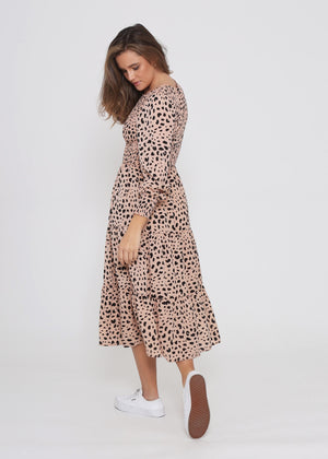 Phoenix Dress Peach Cheetah