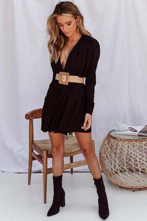 Black long sleeve cape mini dress-Sundays-Cleopatra Dress