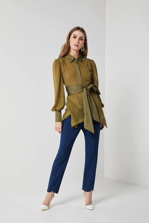 Sheer Khaki Blouse-Elliatt-Decades Blouse