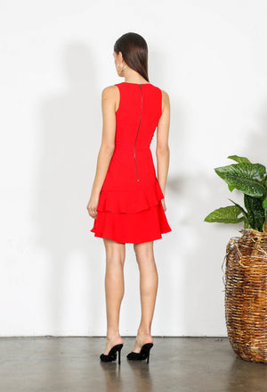 Red Dress-Shilla-Elements Ruffle Dress