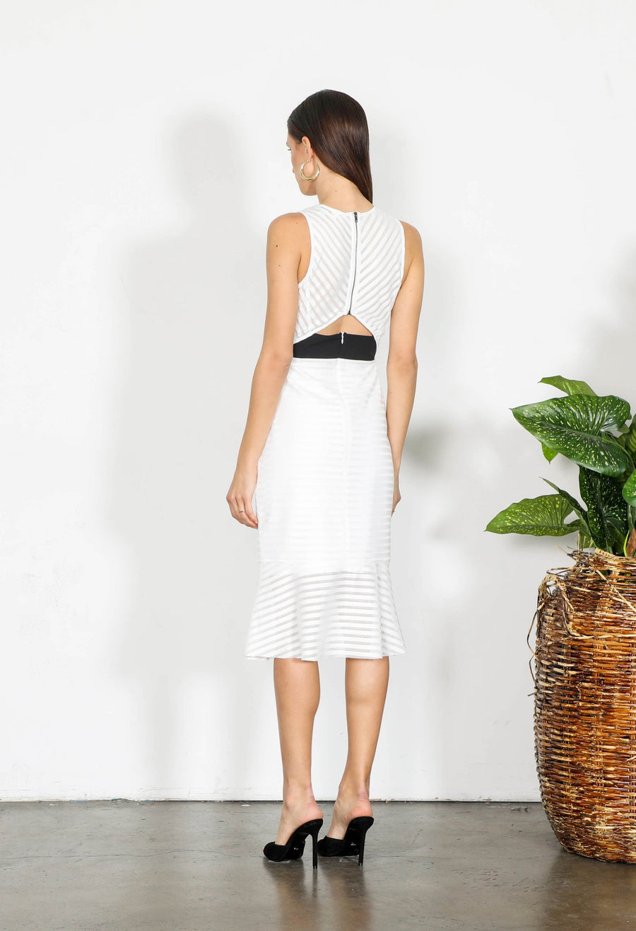 White Fitted Dress-Shilla-Element Cut Out Midi Dress