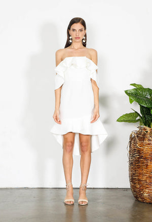 White Dress-Shilla-Element Off Shoulder Dress White