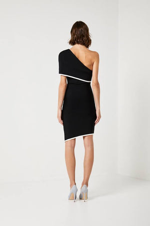 Ladies Black Black and White Dress-Elliatt-Emily Dress