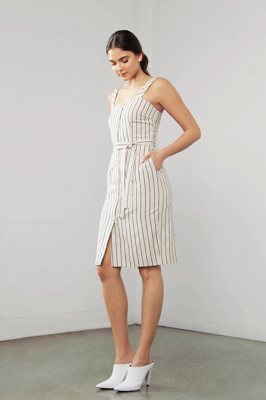 Linen Dress with Belt-Shilla-Enchant Linen Stripe Dress