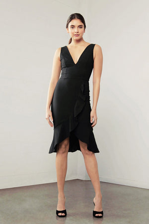 Black Dress knee length Dress-Shilla-Enchant Ruffle Dress