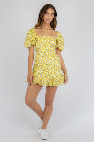 Yellow Mini-Floral Dress with Bubble Sleeves