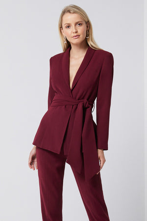 Ladies belted blazer Wine-Elliatt-Frances Blazer