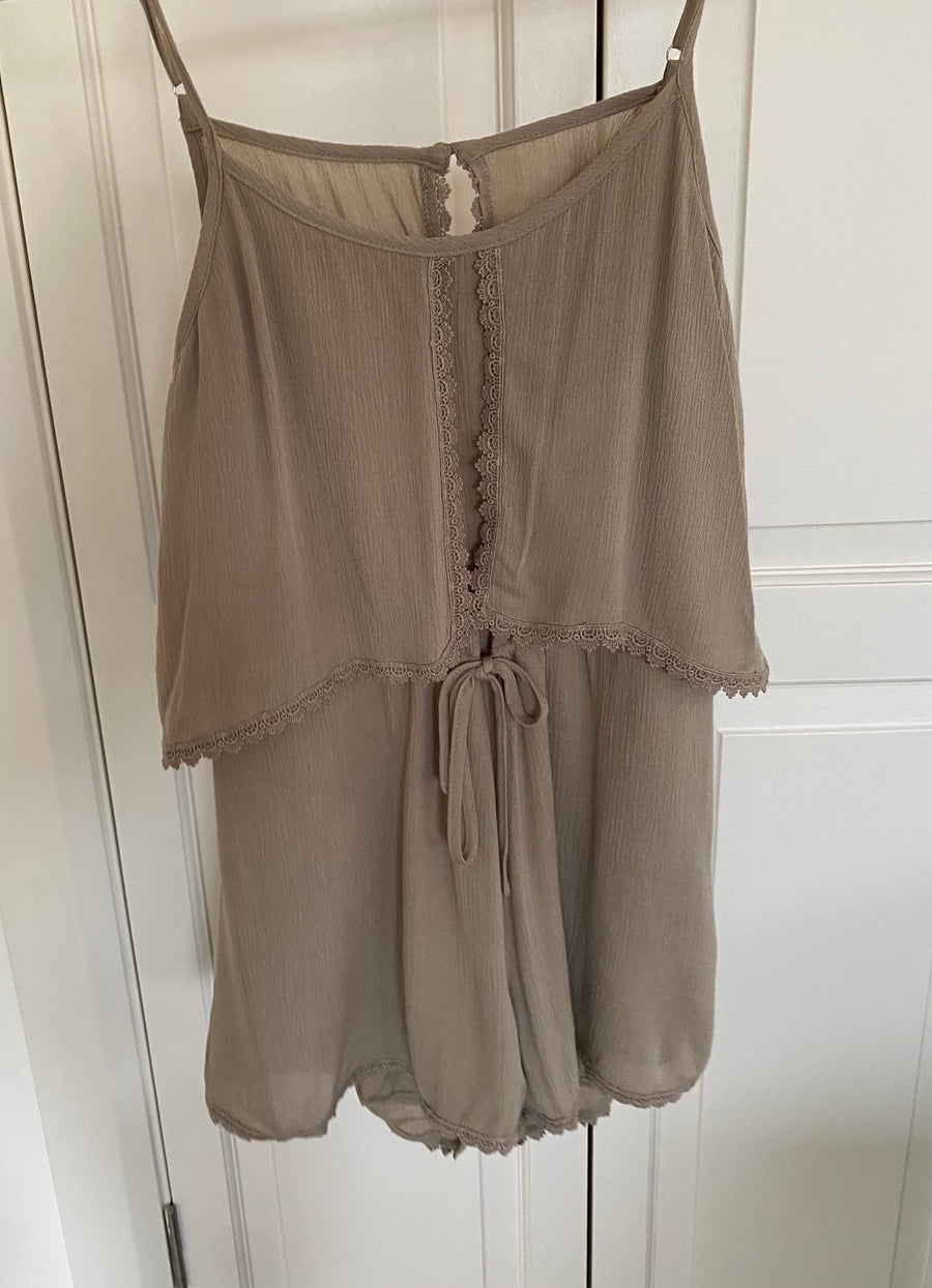 Light Khaki Playsuit with open back