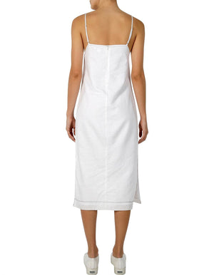 Ladies white linen Dress-Nude Lucy-Grace Contrast Stitch Dress