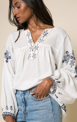 White Blouse with Embroidery-Raga-Imani Blouse