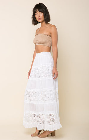 White Boho Skirt-Raga-Kimberly Lace Panel Maxi Skirt