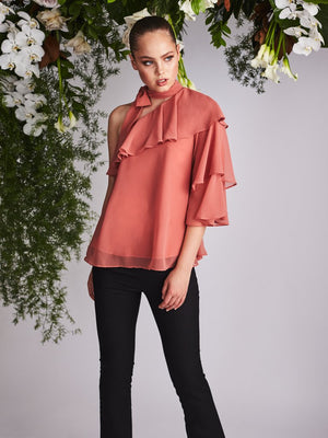 Laelia One Shoulder Top Desert Sand