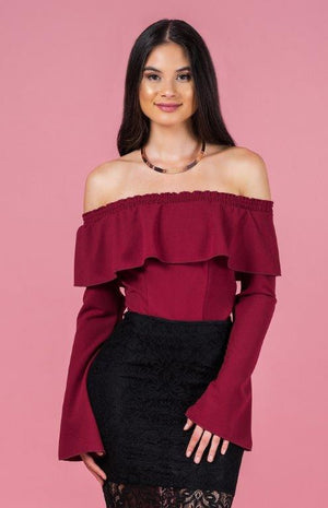 Ajoy Levora Off The Shoulder Ruffle Top