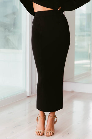 Ladies Black Skirt - Nahla Knit Skirt - SNDYS