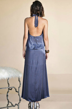 Ladies Silky Navy Dress-PS the Label-Magnetised Maxi Dress