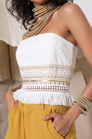 Ladies Bustier Top - Makeda Top - Prem The Label - White
