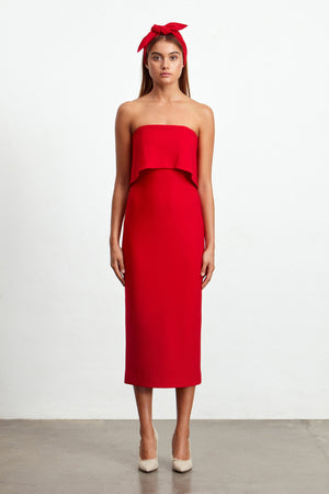 Ladies Red Midi Dress -Elliatt-Marino Dress