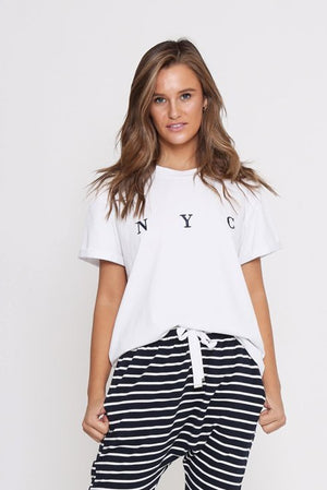 Leoni White Tee-NYC Embroidered Tee