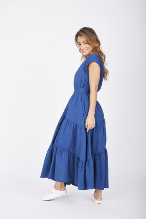 Ladies Navy Maxi dress-Solito-Natural Adventures Tiered Maxi Navy