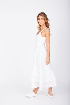 Ladies White Linen Dress-Solito-National Adventures V Dress
