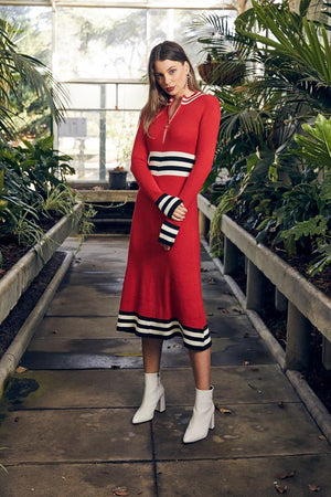 Ladies knit Red Dress-Elliatt-Nectar Dress