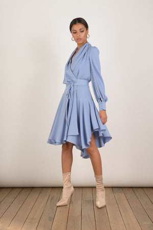 Ladies Blue Wrap Dress-Elliatt-Peridot Wrap Dress