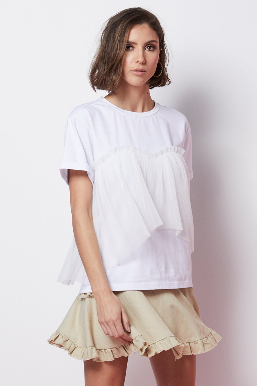 Ladies Tee with Tulle-Elliatt-Poppy Tee