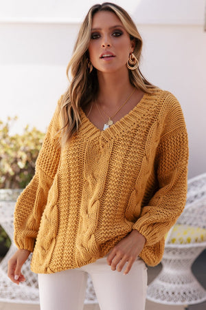 Ladies Cable Knit-Sundays the label-Que Knit Mustard