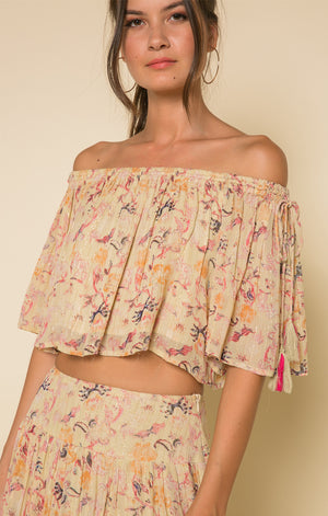 Off the Shoulder Boho Top-Raga-Norah Tie Shoulder Crop