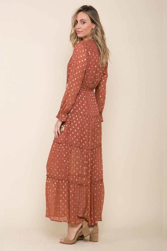 Long sleeve Maxi-Raga-Elle Tiered Maxi