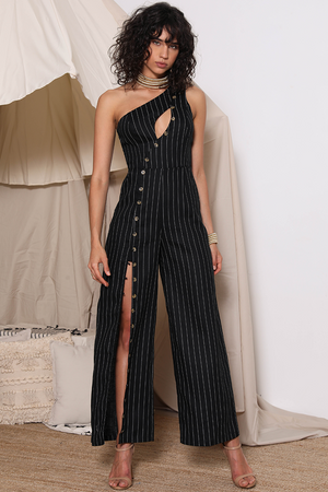 Black Pinstripe Jumpsuit-Prem The Label-Safari Jumpsuit