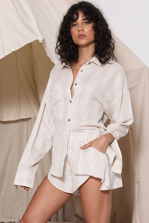 Ladies linen oversize shirt-Prem the Label-Sarafina Shirt